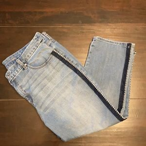 Chico's Women's sz 3 Pinstripe Jeans cropped sz 12